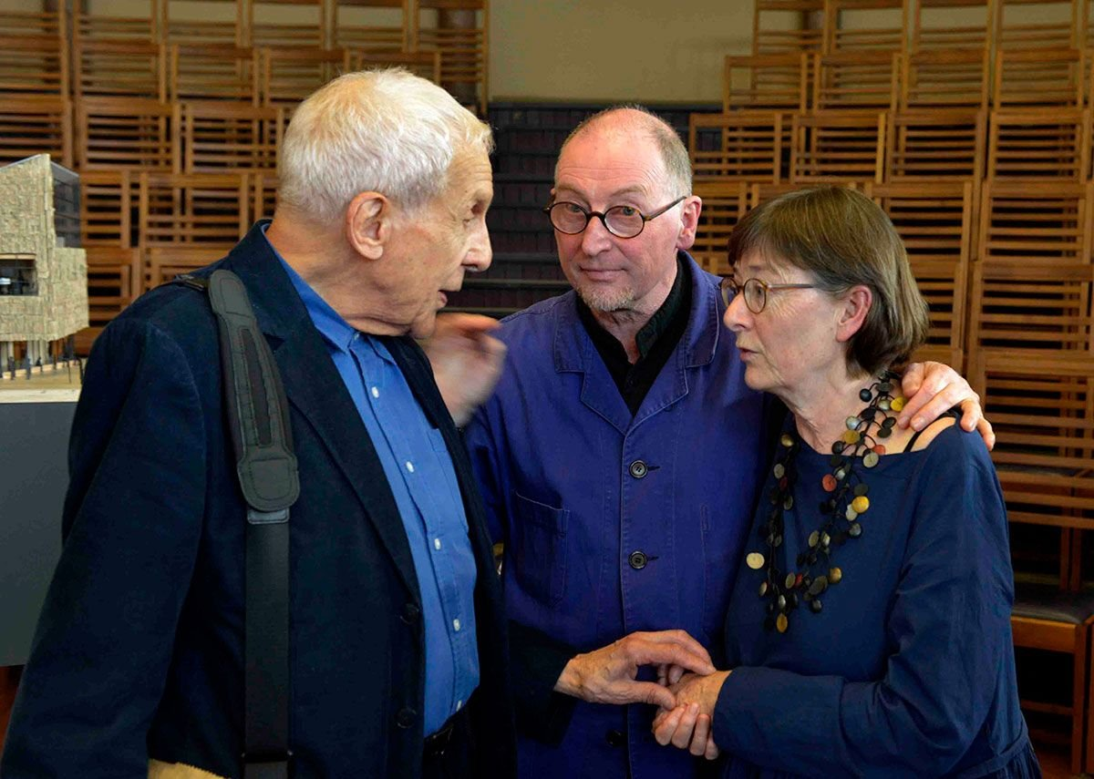 Kenneth Frampton with Sheila O'Donnell and John Tuomey.