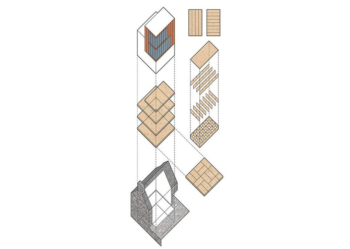 Axonometric: the rear elevation is removed and a new OSB structure created within.