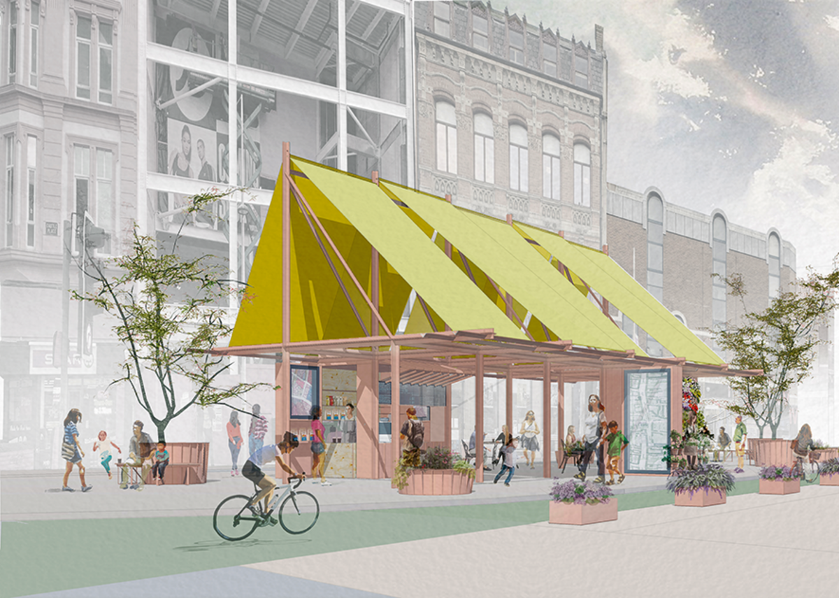 Castle Place, a collaboration with OGU Architects, emerged because of coronavirus in Belfast. It consists of a pavilion with a café and a flower stall with vitrines to display images from local galleries.