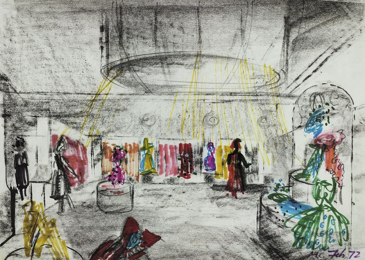 Design for the Christian Dior fashion boutique, 9 Conduit Street, London - sketched interior perspective.