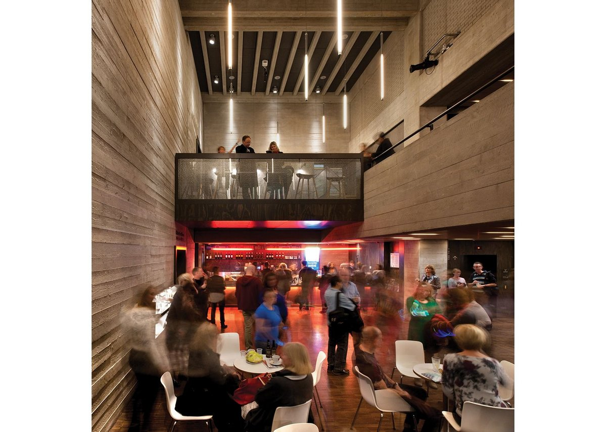 The expanded foyer of the Dorfman – previously Cottesloe – Theatre with new mezzanine level.