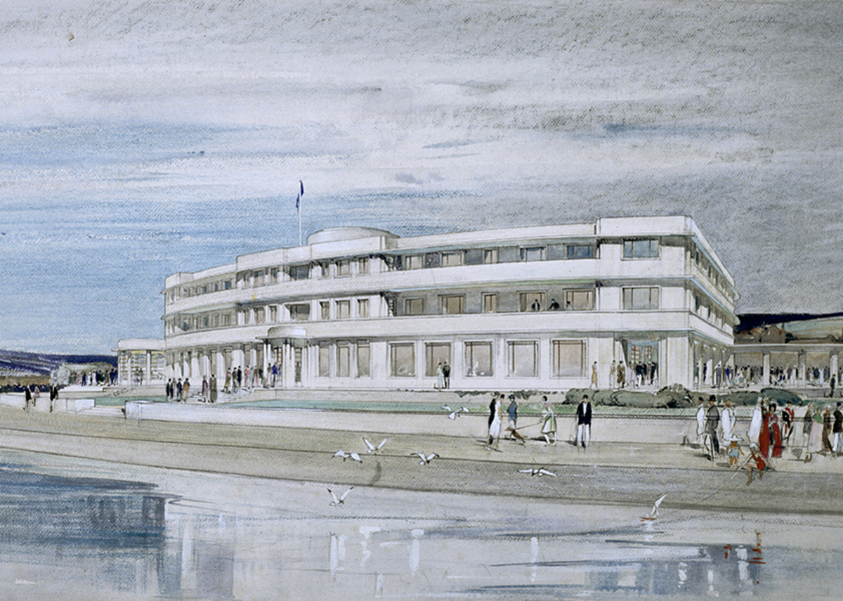 Designs for Midland Hotel, Morecombe by Oliver Hill and John Dean Monroe Harvey.