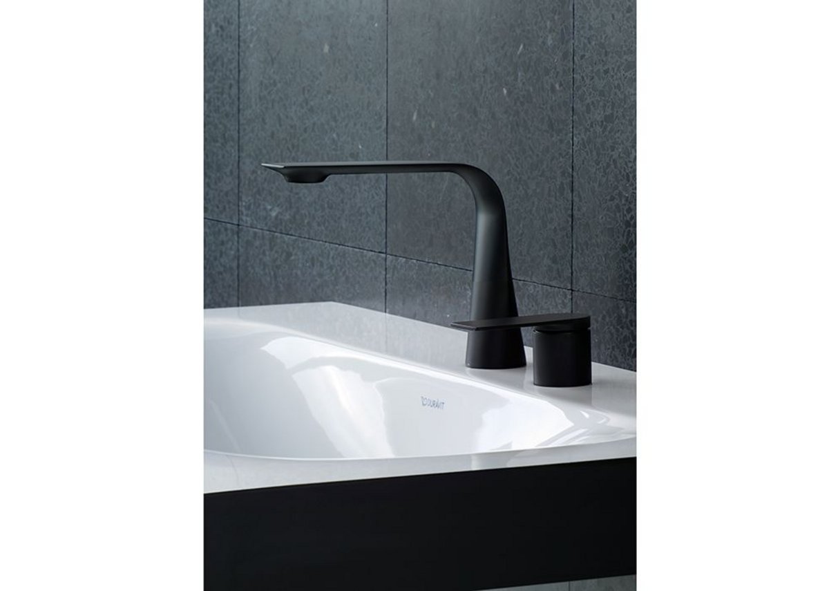 Duravit's D.1 tap features a single-lever handle that mirrors the form of the flat outlet.