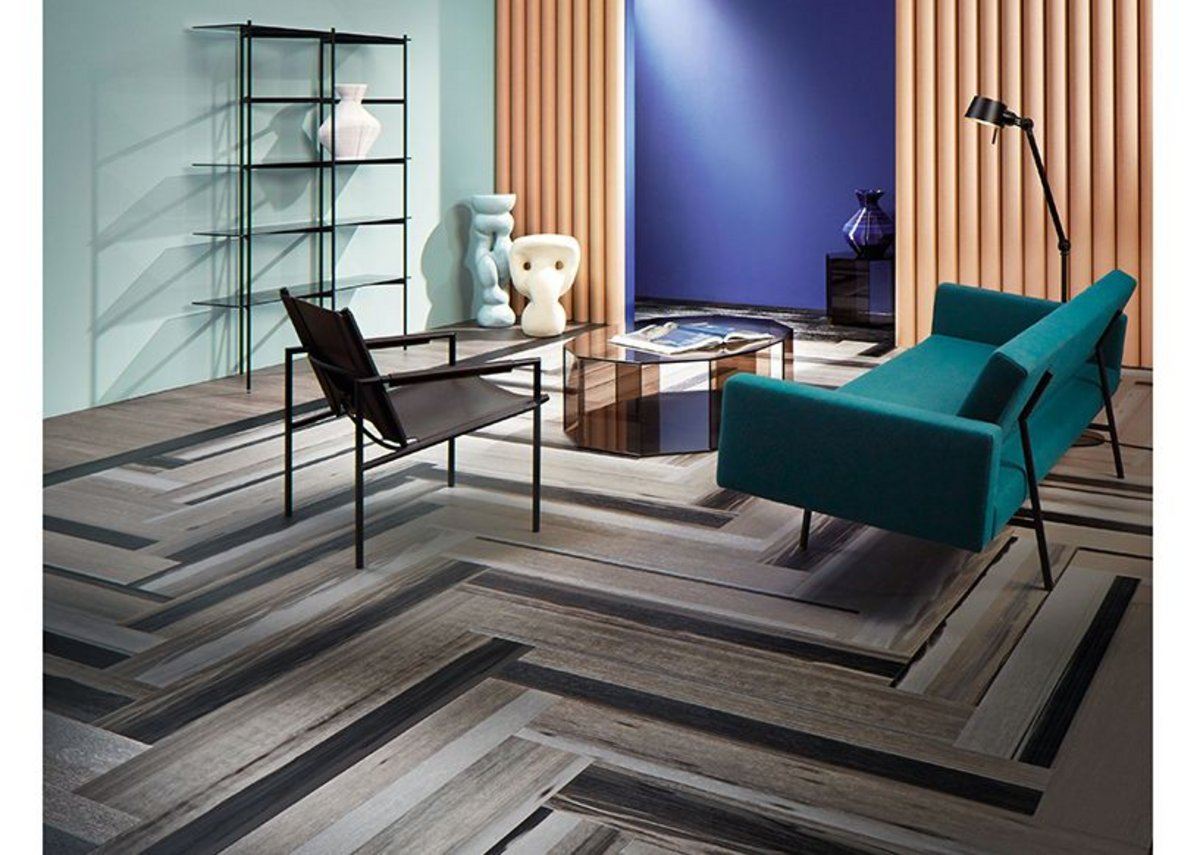 Forbo Allura Fusion vinyl tile flooring in wp60375 Black Fused Oak and Allura Grey Collage Oak.
