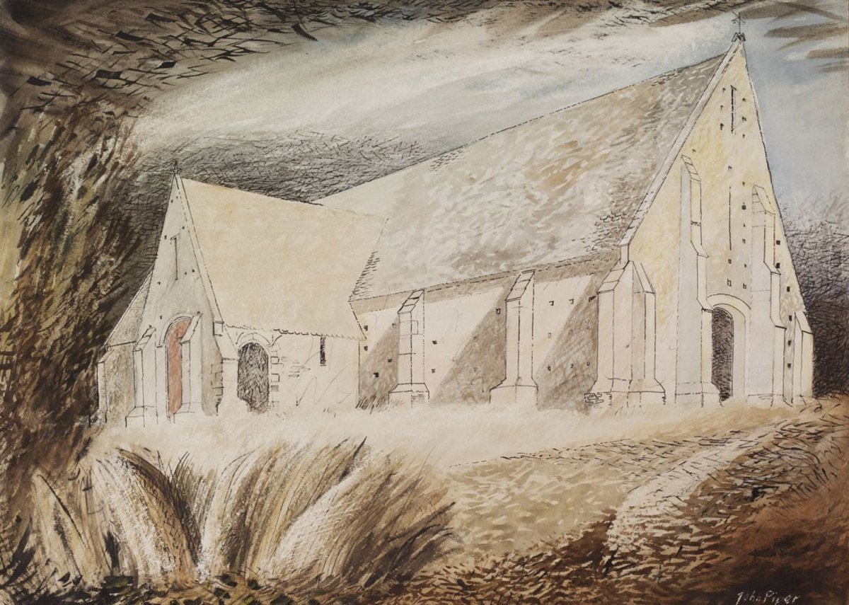 John Piper, The Tithe Barn, Great Coxwell, Berkshire, c 1940. Given by the Pilgrim Trust.