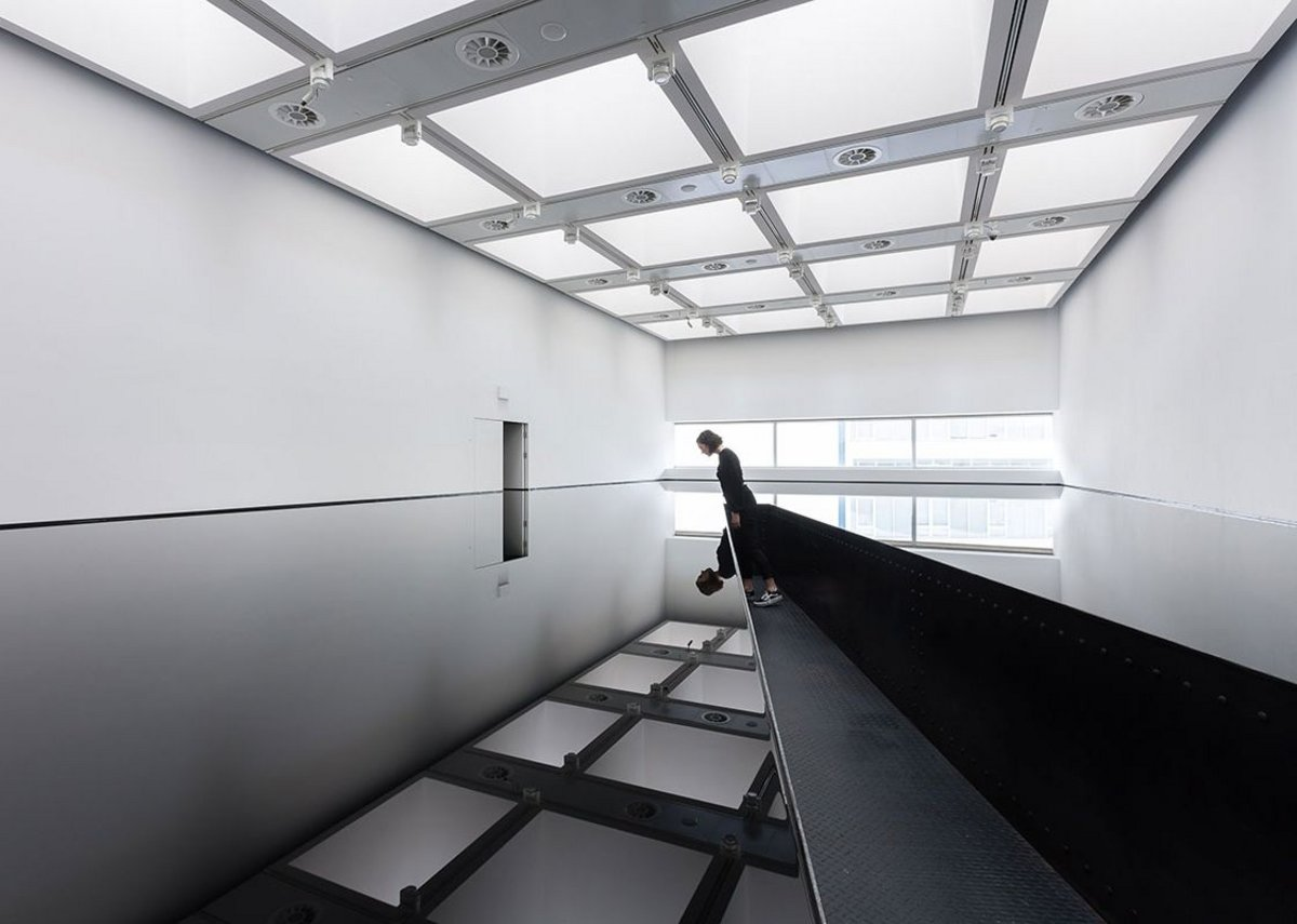 Installation view of Richard Wilson_ 20_50, (1987) at Space Shifters
