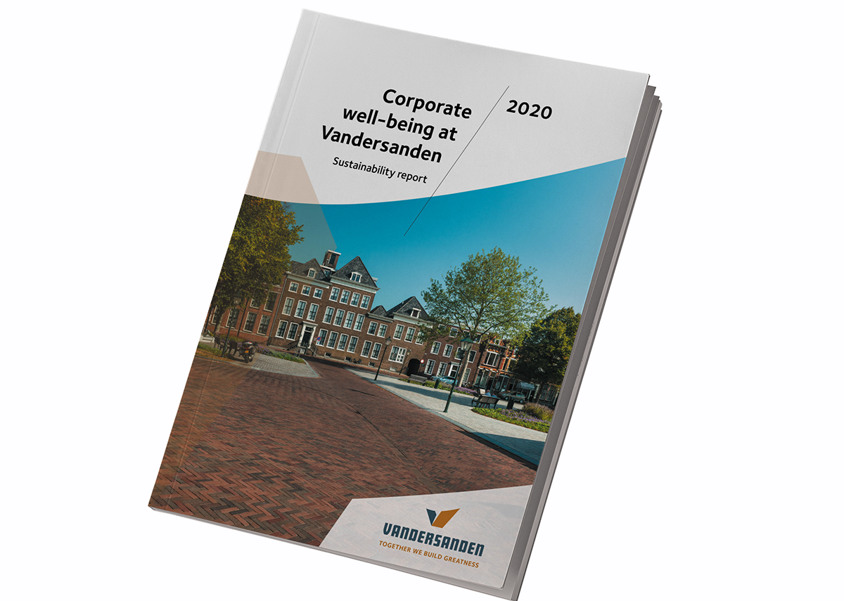 """Vandersanden's sustainability report: 'We actively invest in what we call """"corporate wellbeing"""" - contributing to the improvement of our employees, the environment, the community and our sector.'"""