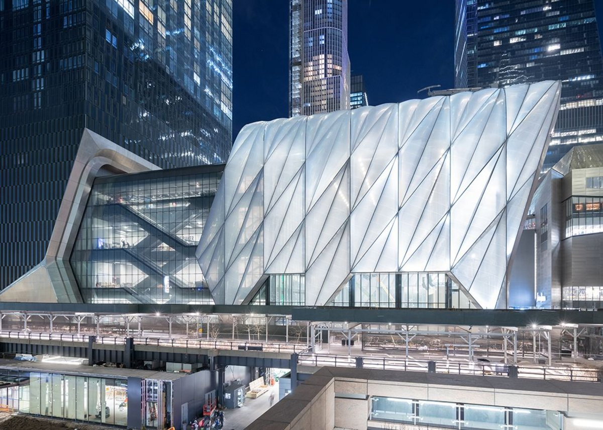 Evening View of The Shed from 30th Street, New York, an expandable performance centre designed by Diller Scofidio + Renfro and Rockwell Group.