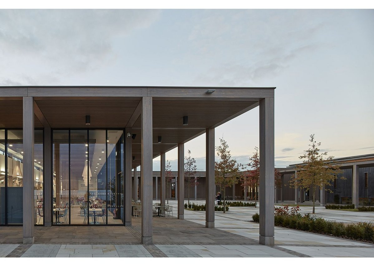 The colonnade at the Remembrance Centre, National Memorial Arboretum, Alrewas, designed by Glenn Howells Architects
