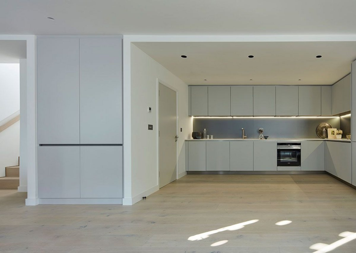 Each house has an open plan kitchen/living room on the ground floor. Photo: Dennis Gilbert. Courtesy HCL Architects.