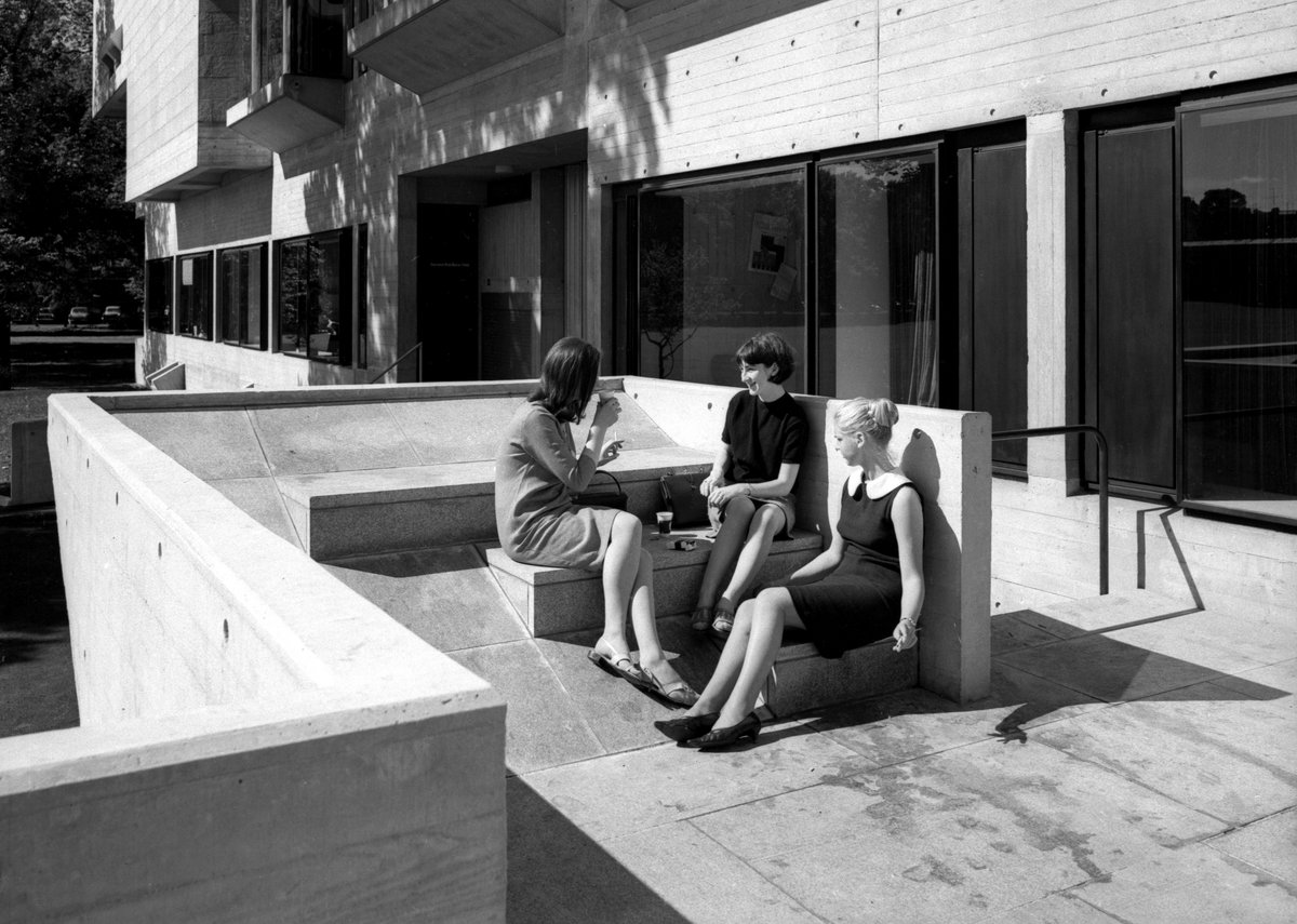 Students sun themselves at the brand-new Berkeley Library in 1967.