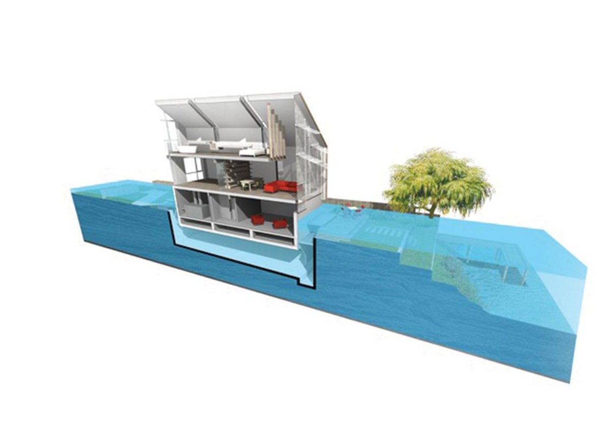 In the event of a flood, the house's dry dock floods and the building begins to float within it.