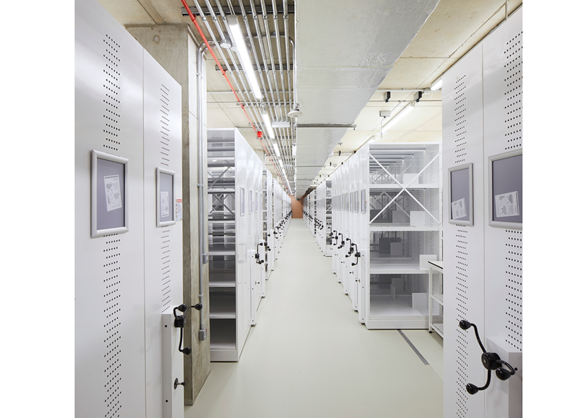 Most of the building is airlocked floors of archive stacks like this. Credit: Hufton + Crow