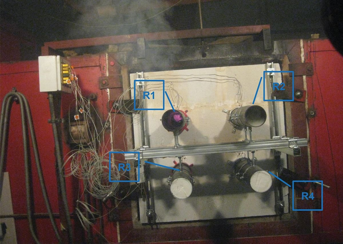 The pipes inside the furnace begin to melt immediately, releasing light smoke. R2 fully closes in 5 mins, R1 in 7 mins