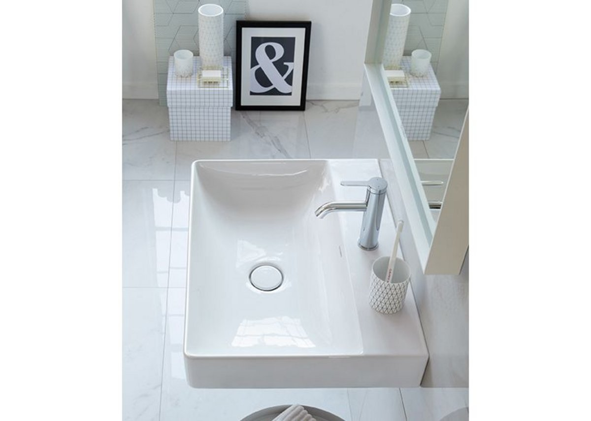 DuraSquare washbasin made from ceramic compound DuraCeram which allows for precise narrow rims, maximising the size of the sink