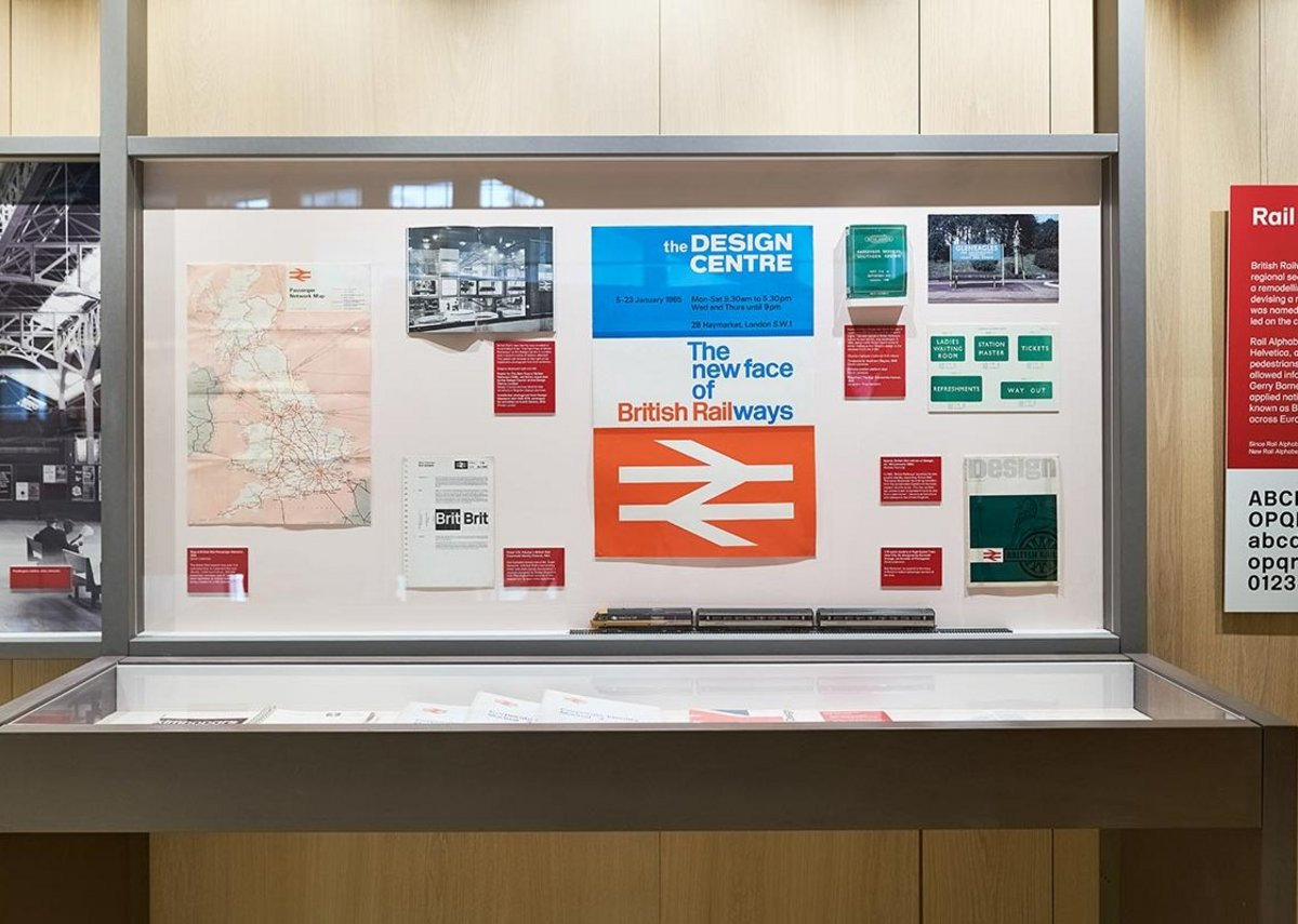 Margaret Calvert - Woman at Work exhibition at the Design Museum, showing her work with Jock Kinneir for National Rail. Credit: Felix Speller for the Design Museum