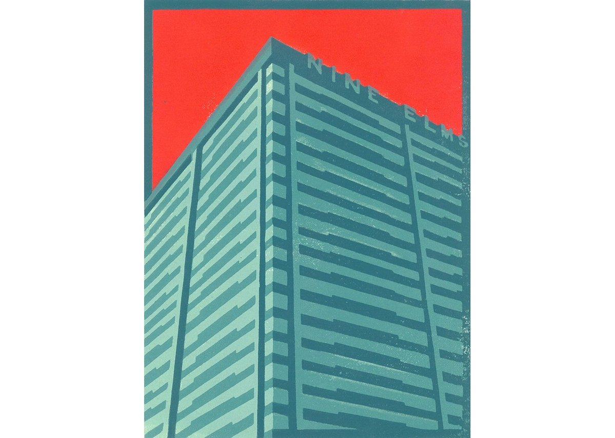 Nine Elm Cold Store, a linocut by Paul Catherall. This was one of the first Brutalist buildings tackled by the illustrator.