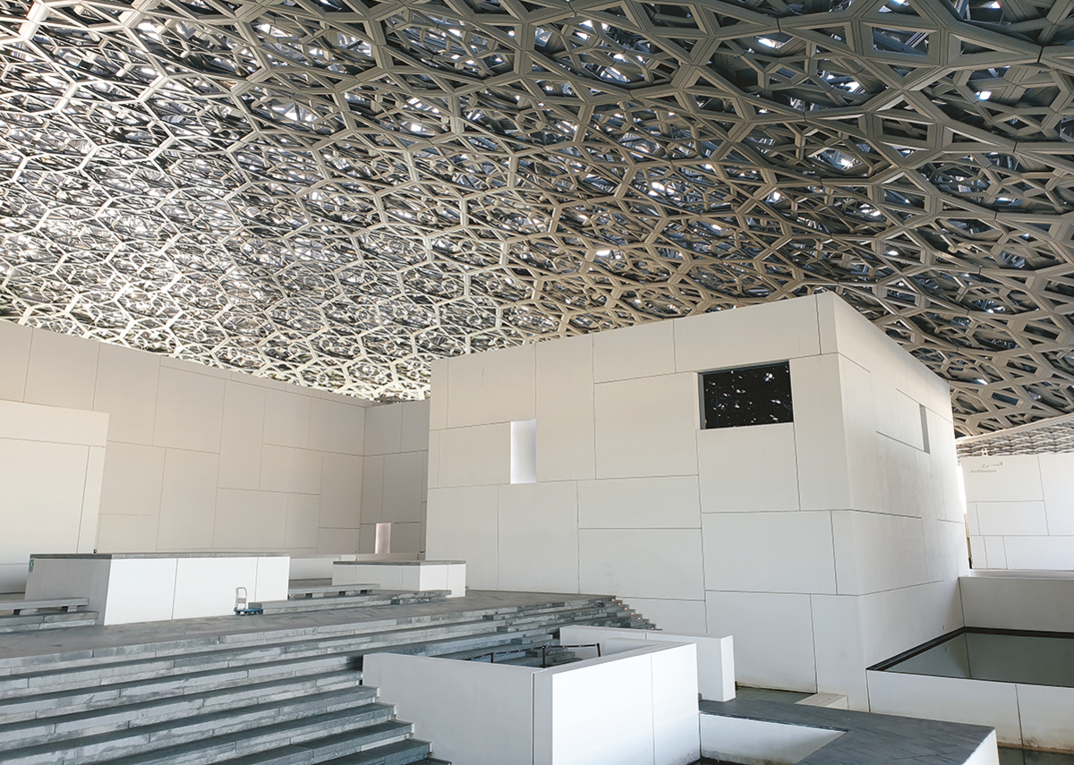 The entrance to the Louvre Abu Dhabi, designed by Jean Nouvel.