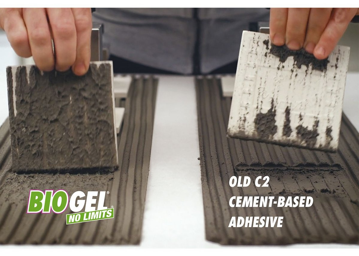 Biogel No Limits fully wets the back of the tile.