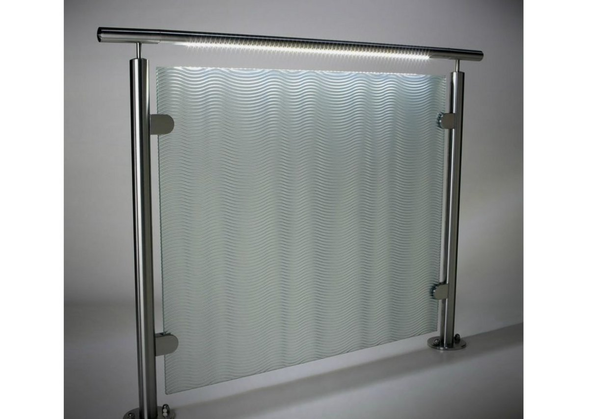 HDI Circum railing system with LED light and speciality resin panel.