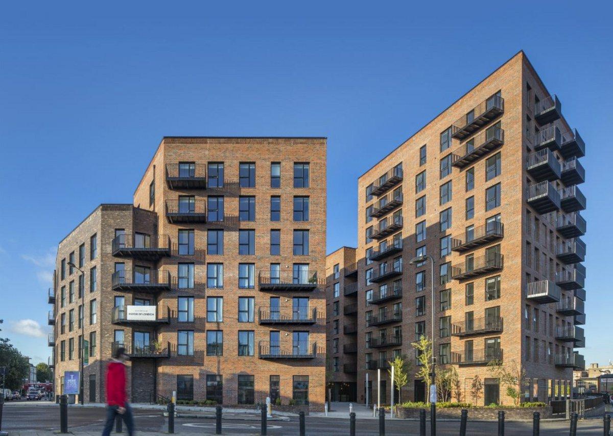 Velfac full-height glazed units at Dalston Lane, the world's largest cross-laminated timber building. Waugh Thistleton Architects.