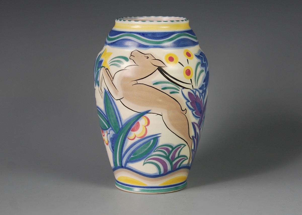 Leaping Deer vase, Carter, Stabler & Adams Ltd, Poole, painted by Eileen Prangnell c1935.