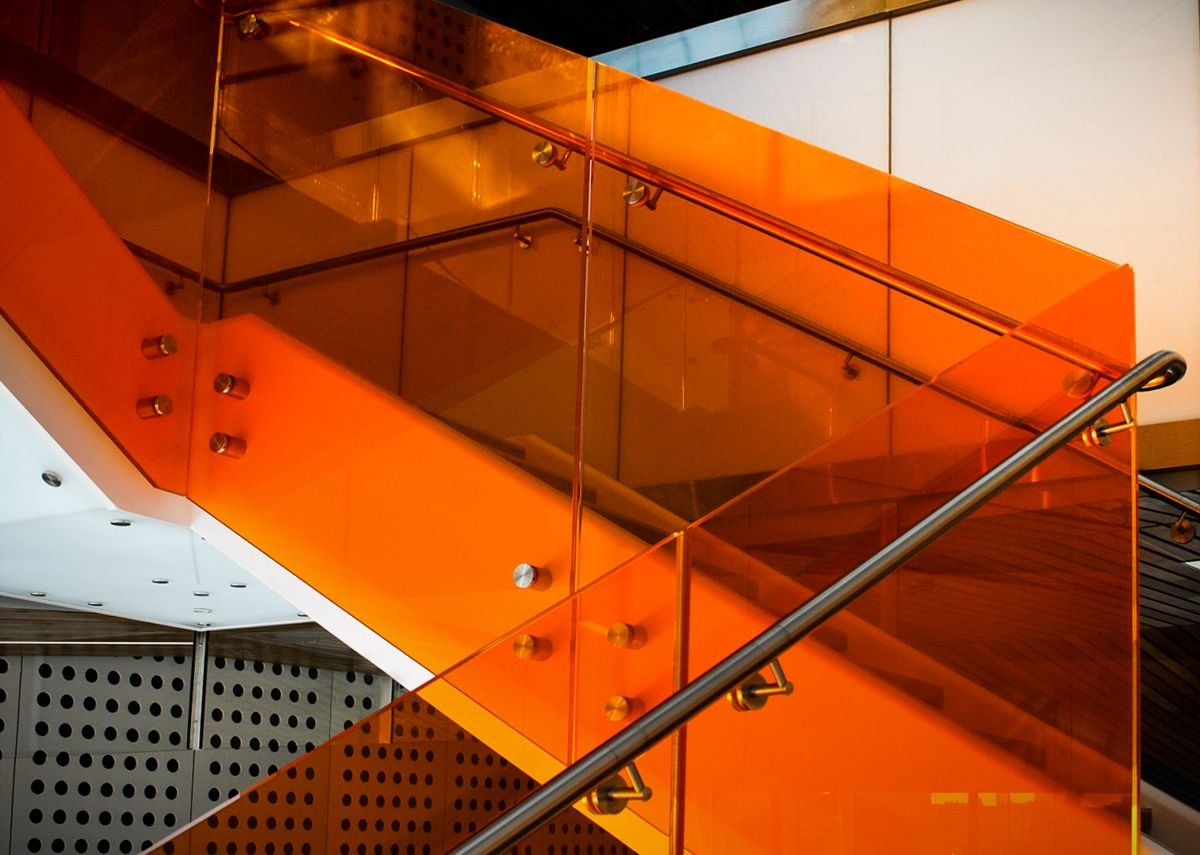 HDI Railing Systems' Optik balustrade with coloured panels, University of California, Berkeley.