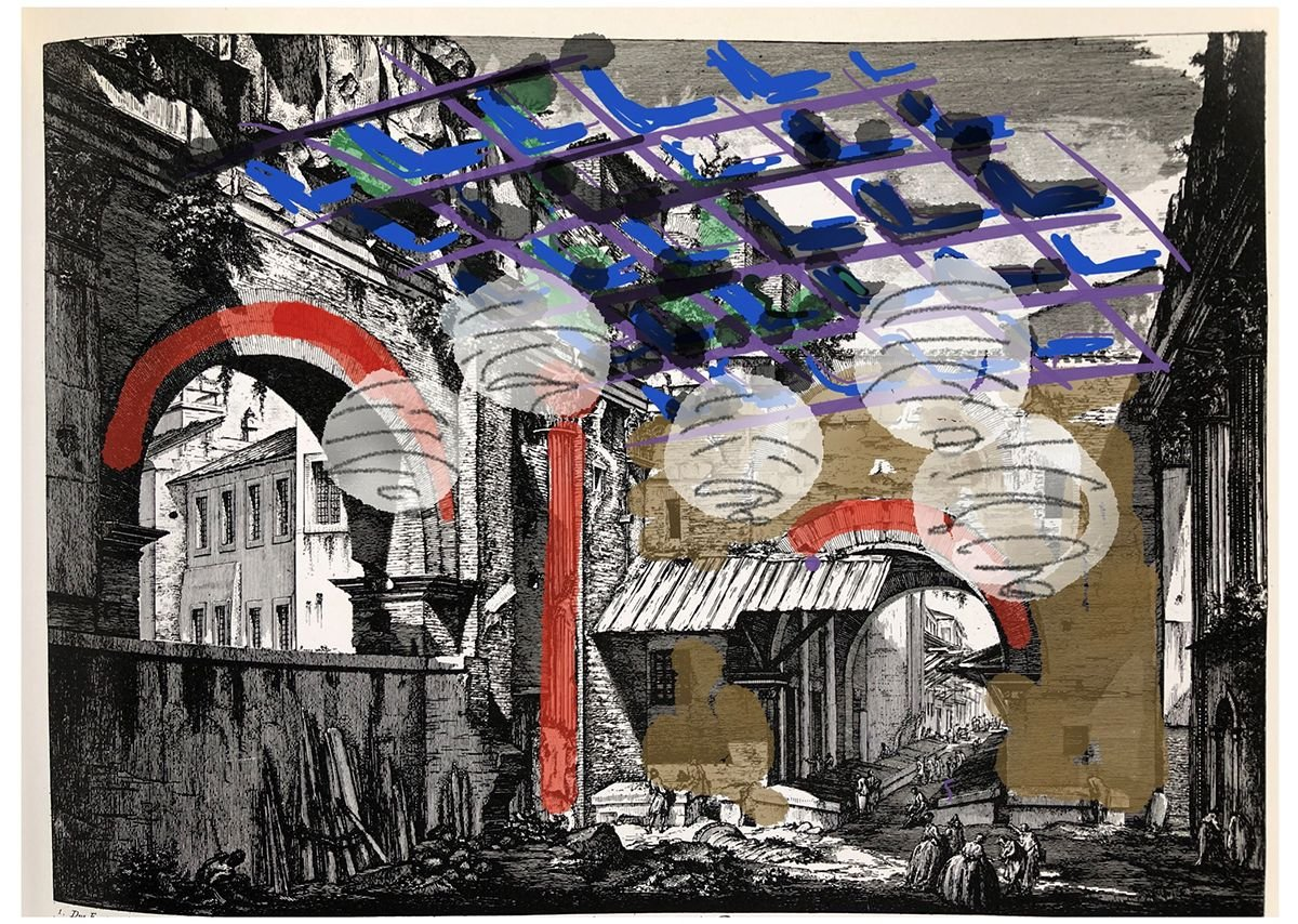 Nigel Coates, After Piranesi #2: Interno dell'Atrio del Portico d'Ottavia, 2018.