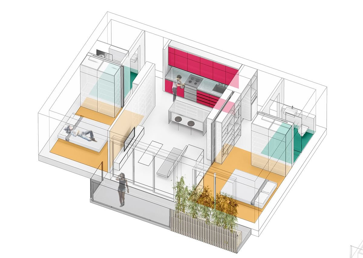 Weston Williamson concept for two bedroom living space of just 52sqm for sharers for Pocket Living