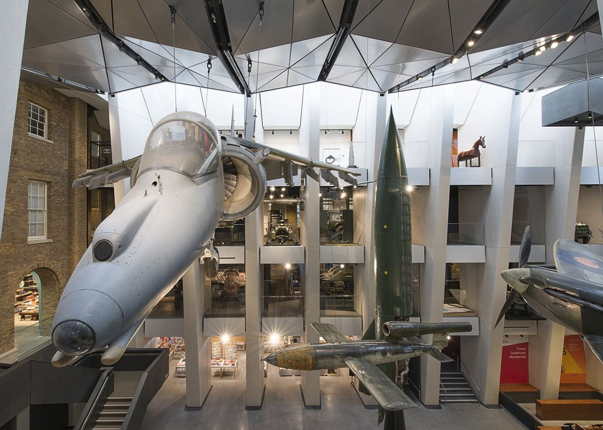 Suspended aircraft feature in the atrium.