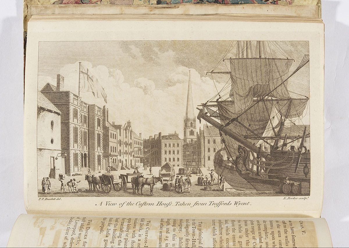 Custom House Liverpool 1774, with only two Black children as obvious evidence of the slave trade at that time. Bodleian Library, University of Oxford.