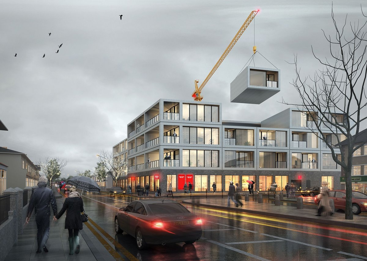 Mcleod Road, a mixed-use development in Abbey Wood, London. Retail podium with volumetric modular housing above with a scaffolding-free strategy.