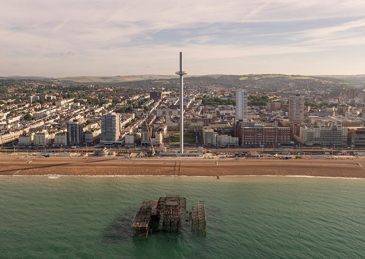Drone image of British Airways i360 with the city and South Downs beyond.