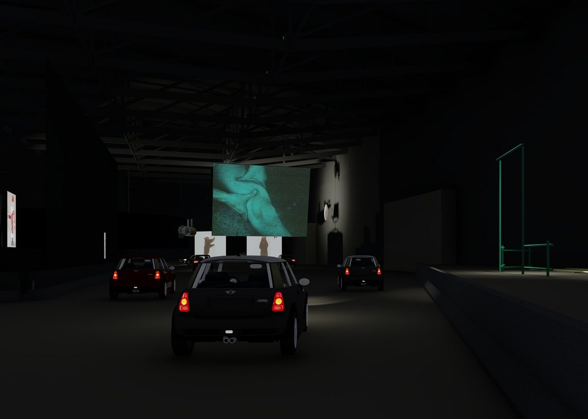 West 8 design visualisation of the drive-thru exhibition August 2020.