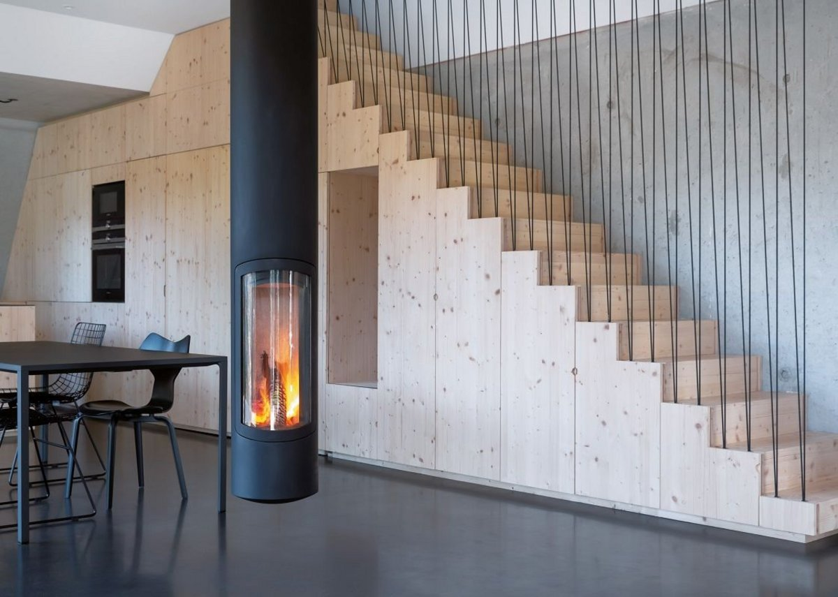 Slimfocus pivoting fireplace.