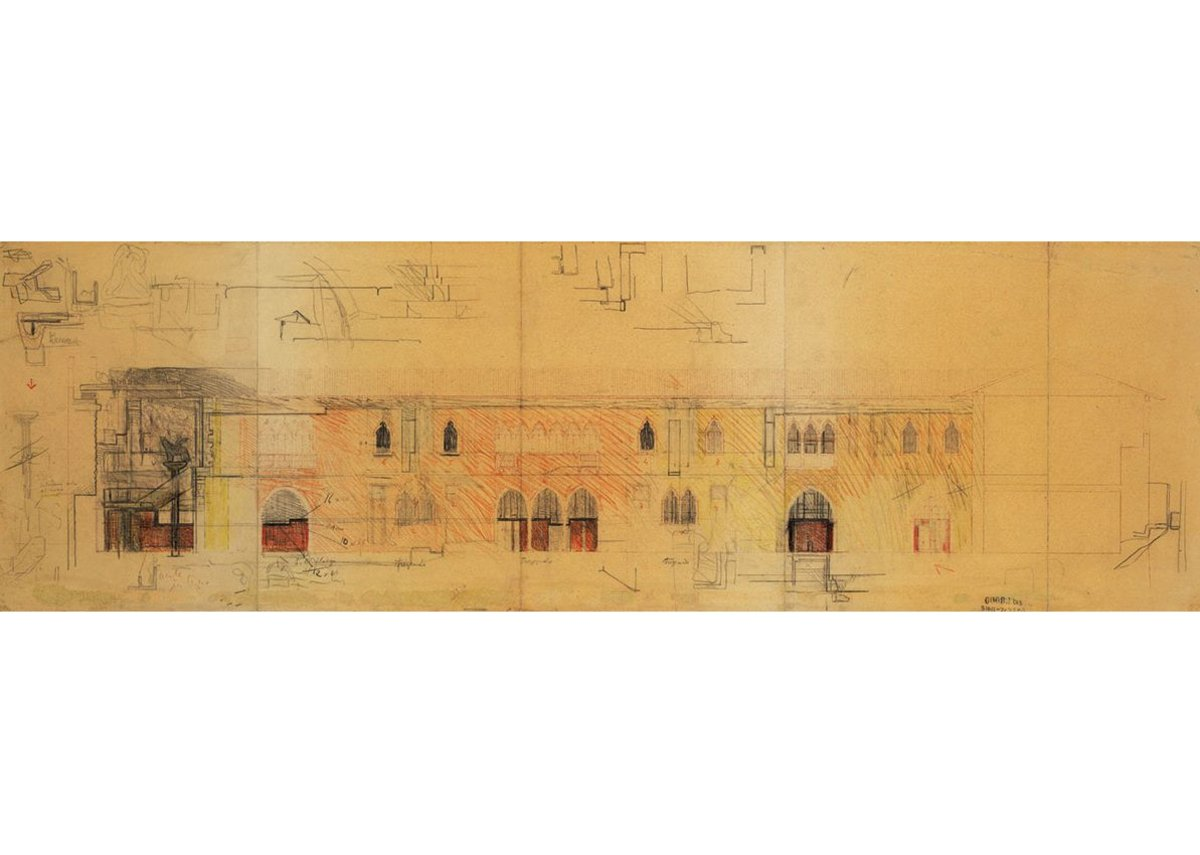 Typical Scarpa elevation drawing with numerous sketches and details overlaid.