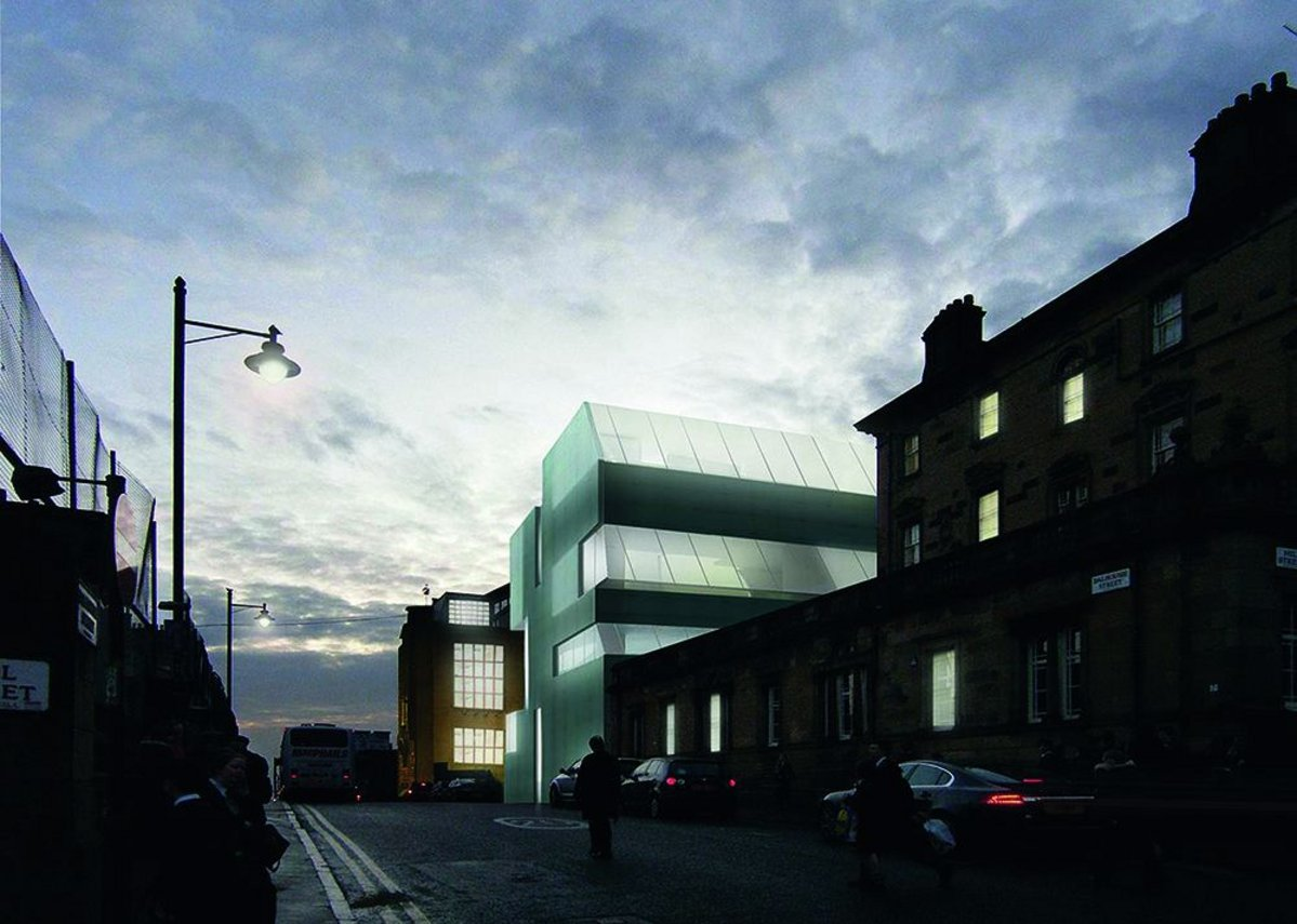 Visualisation of the two buildings lantern-like at dusk looking up Dalhousie Street, and marking out the school's new campus approach.
