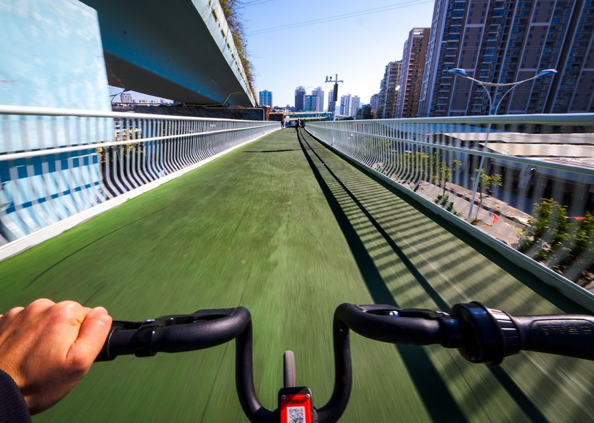 The new routeway allows cyclists to experience moving through the city safely.