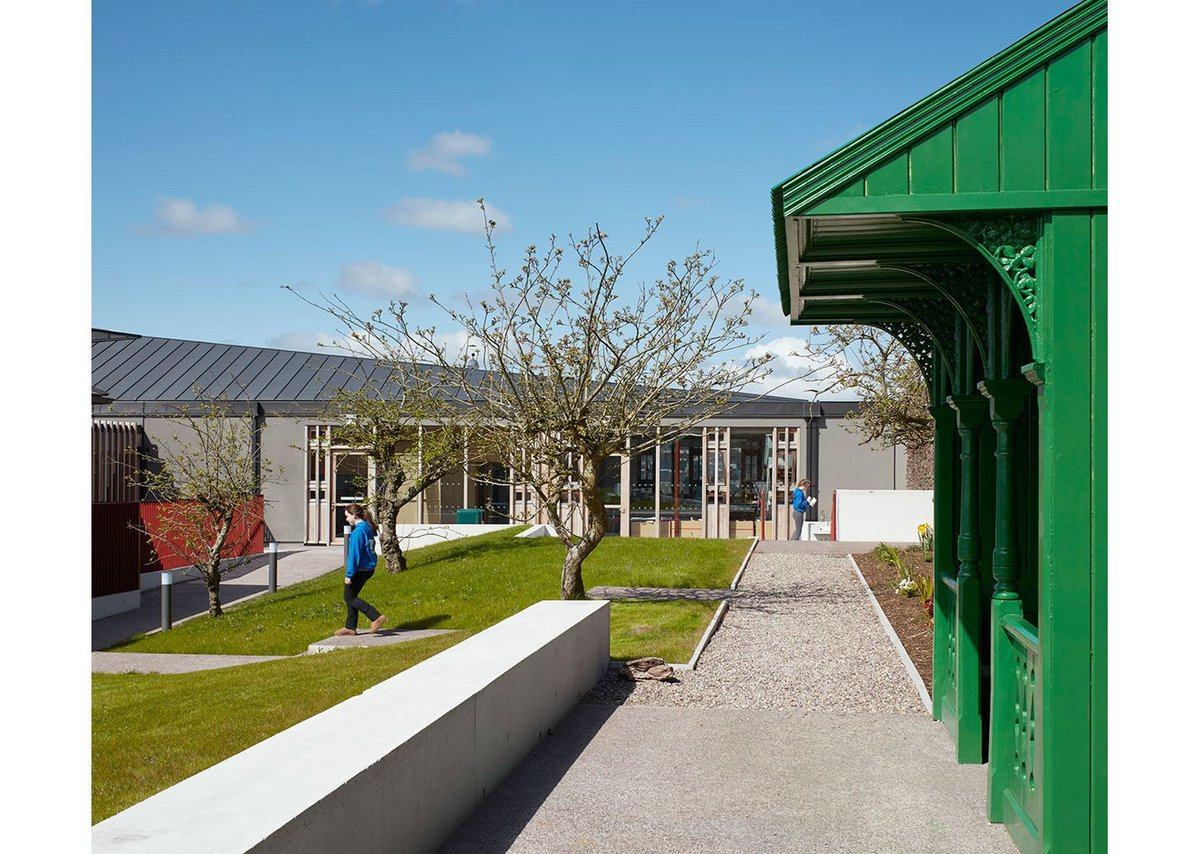 The convent orchard, with its gazebo, addresses the top of the arts block and creates a welcoming space.