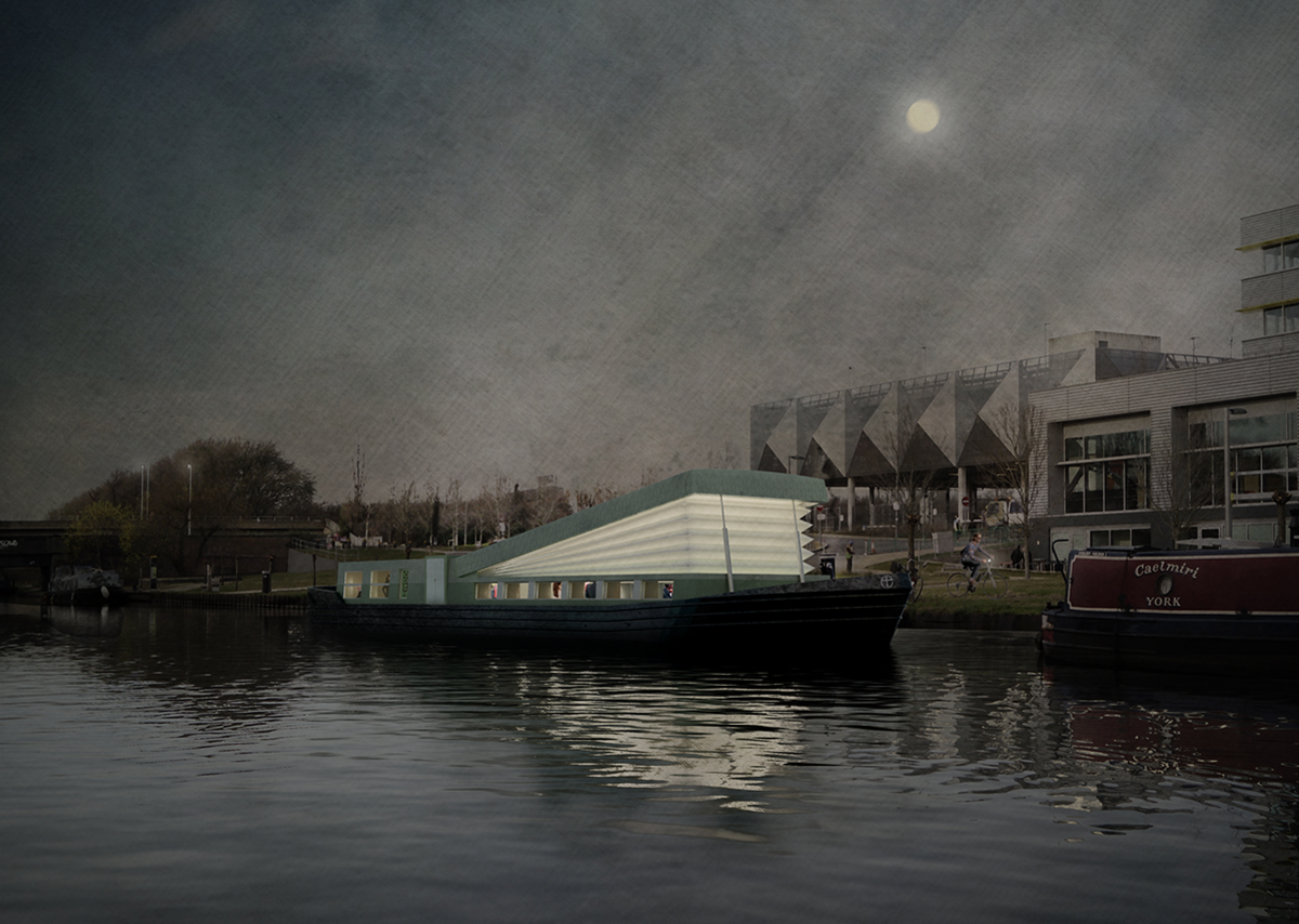 Evening perspective of Floating Church, designed by Denizen Works for the Diocese of London.