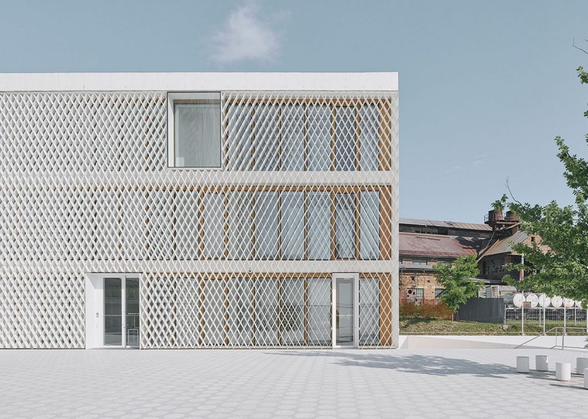 Grille shadings cover the facades, which are timber framed behind.