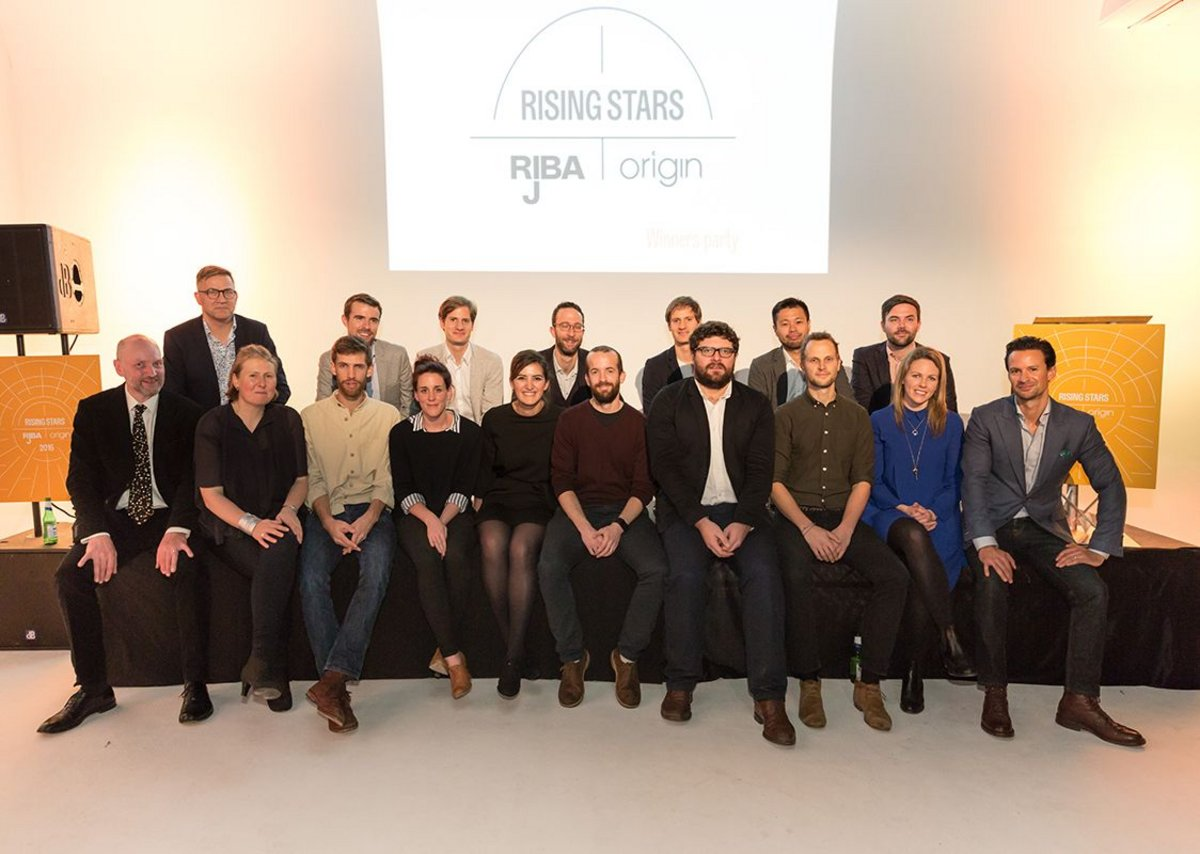 RIBAJ Rising Stars 2012 with the RIBA Journal's Hugh Pearman and Eleanor Young sitting far left in front of Roger Hawkins, plus Ben Brocklesby from Origin far right.
