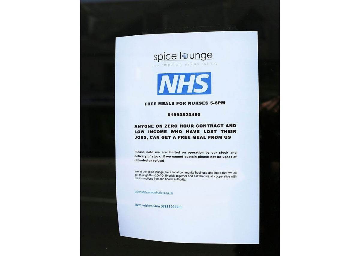 Free meals for NHS workers at the Spice Lounge.