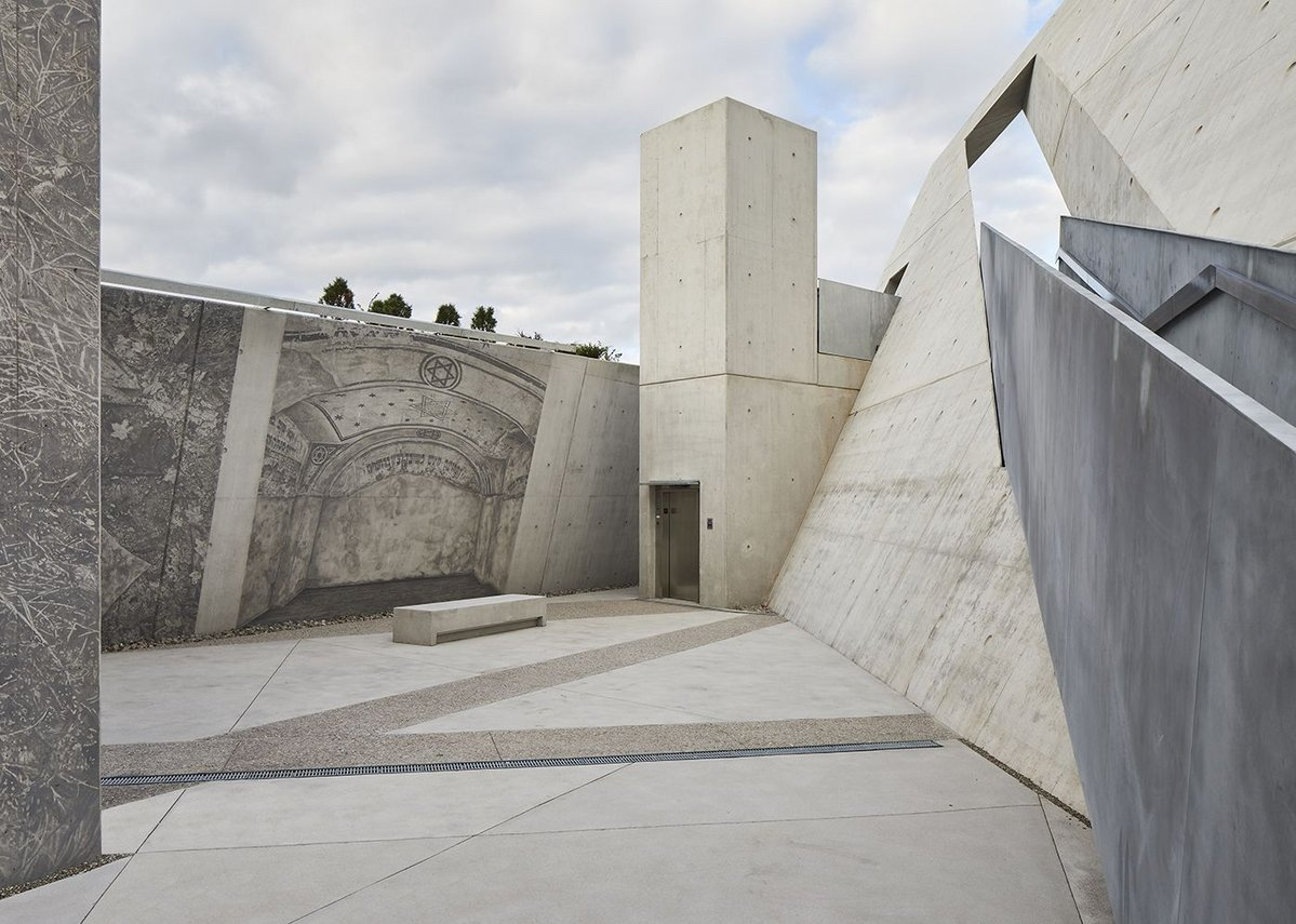 Daniel Libeskind's National Holocaust Memorial, Ottawa with its triangular concrete volumes.