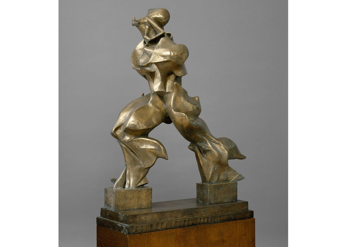 Boccioni – Unique Forms of Continuity in Space, 1913. Anticipates streamlining, thinks Norman Foster.