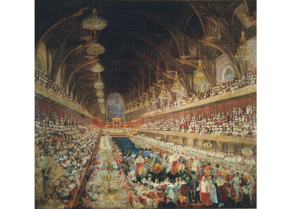 Coronation Banquet of George IV in Westminster Hall. Oil painting by an Unknown artist © Parliamentary Art Collection