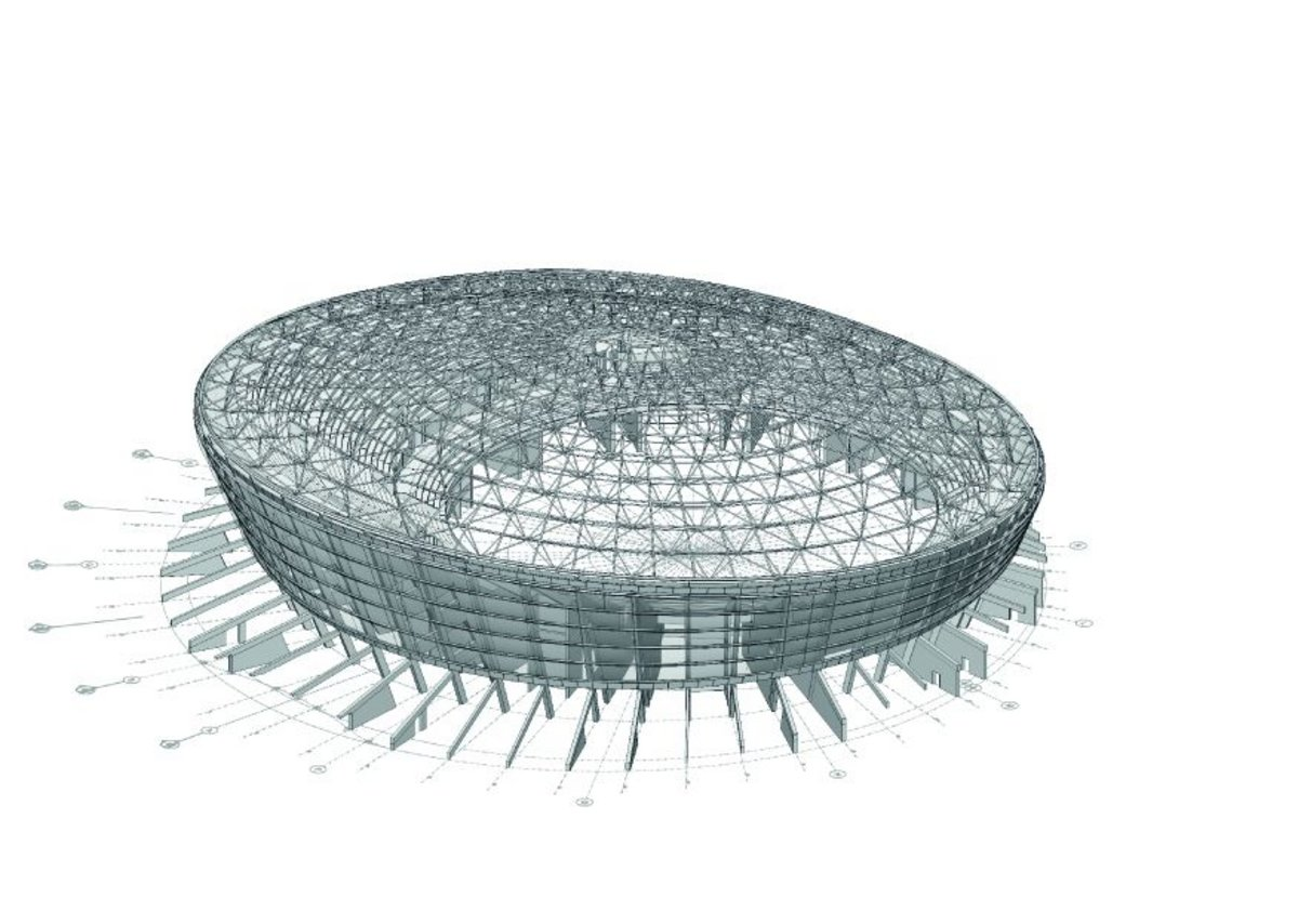 Image showing the main concrete structural fins, seating and steel dome in place above it.