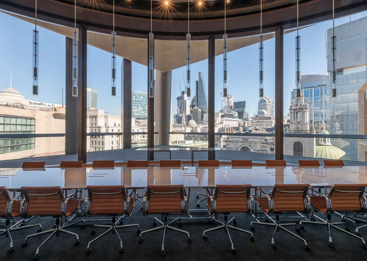 7. View of the City skyline from the Walbrook Dining Room.