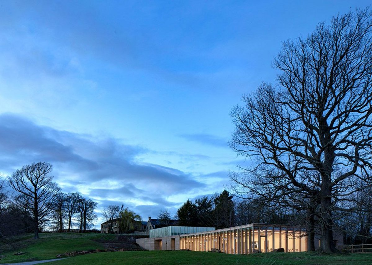 The site is a former millstone grit stone quarry. Feilden Fowles, RIBA regional award and sustainability award and regional client of the year award 2019. Credit Peter Cook