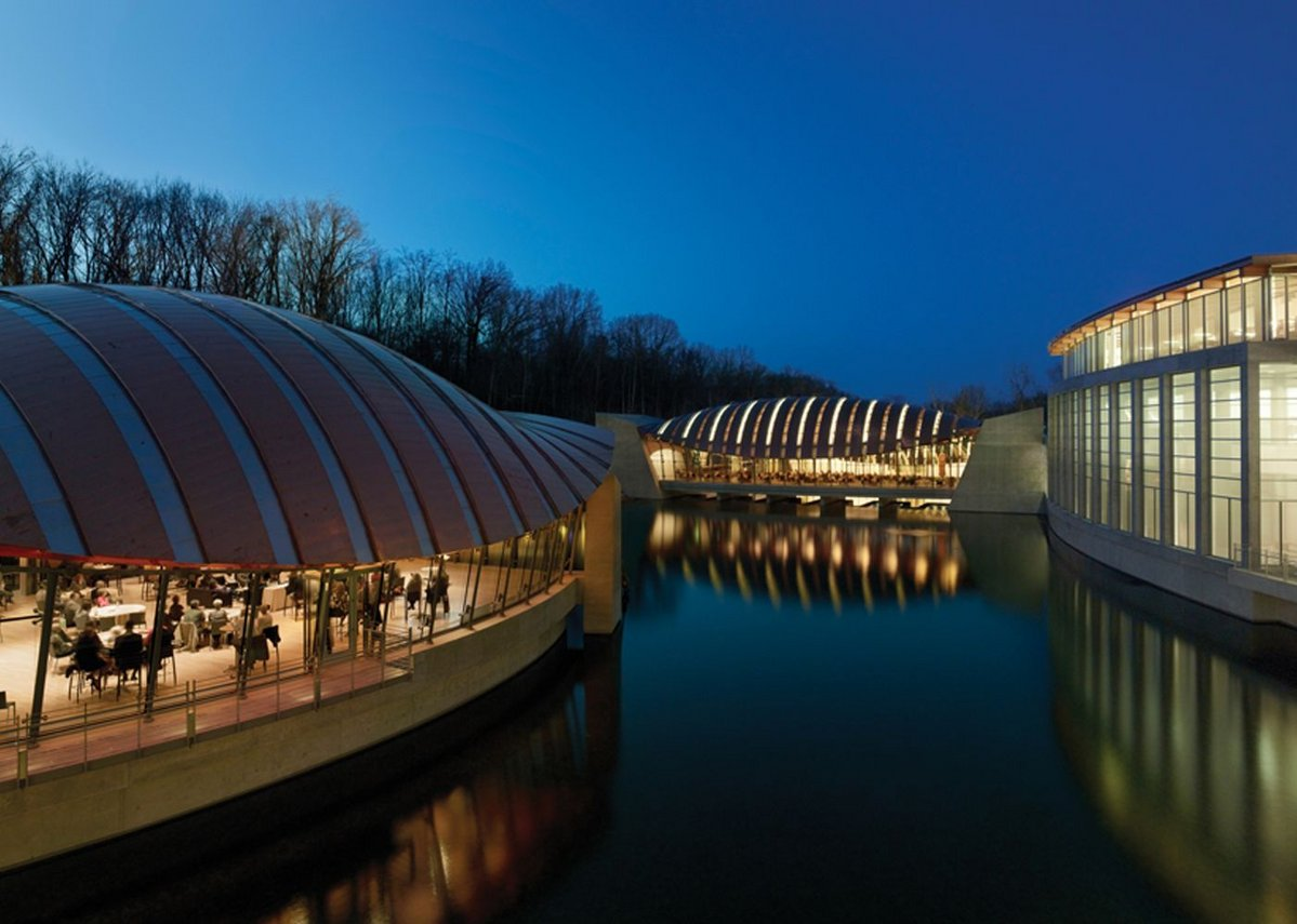 The ponds are the focus at Crystal Bridges Museum of American Art, Bentonville, Arkansas.